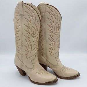 Vintage ACME Beige Leather Western Boots Size 5M